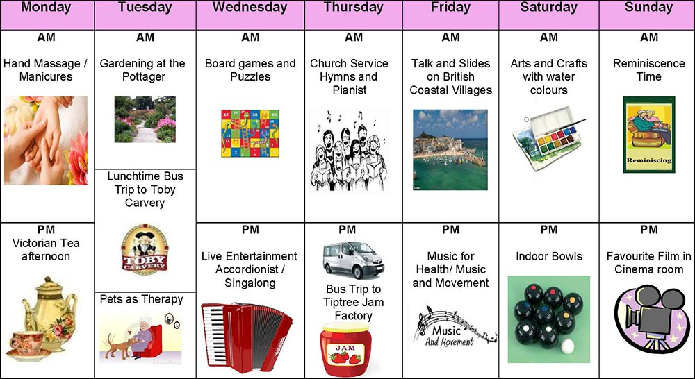 Activities timetable